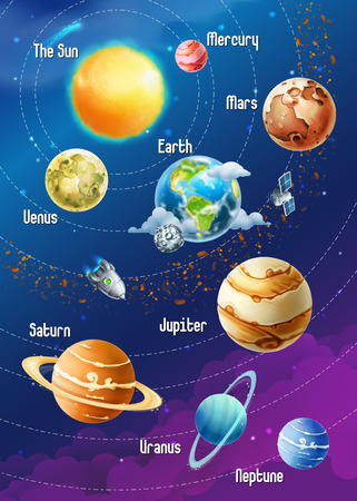 sonne mond und sterne: Sonnensystem von Planeten, Vektor-Illustration vertikale