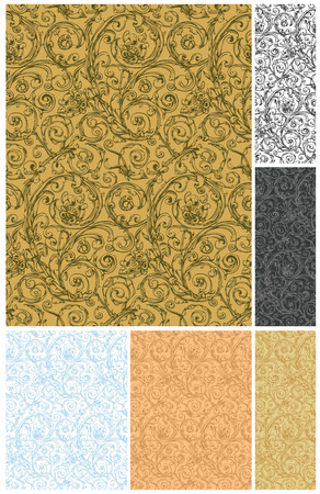 Seamless wallpaper pattern, vector set