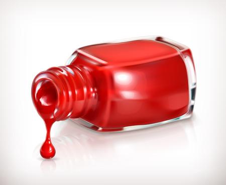 nail polish: Red nail polish, vector icon