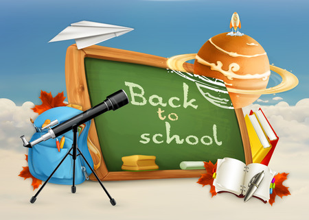 school illustration: Back to school, astronomy lessons, studying and teaching, education and knowledge, vector illustration on white and blue background