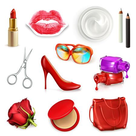 cosmeticos: Señoras rojas bolso con cosméticos, accesorios, gafas de sol y zapatos de tacón alto, ilustración vectorial conjunto aislado en el fondo blanco