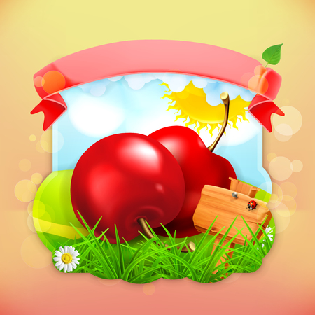 label design: Fresh fruit label cherry, vector illustration background for making design of a juice pack, jam jar etc