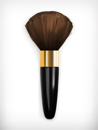 makeup powder: Brush for make up, vector icon