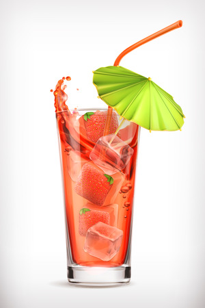 Strawberry cocktail, vector icon