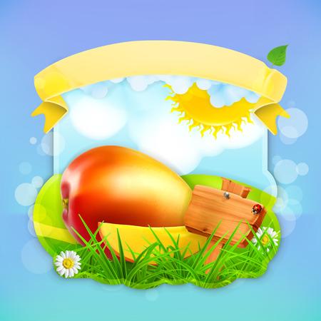 mango juice: Fresh fruit label mango, vector illustration background for making design of a juice pack, jam jar etc