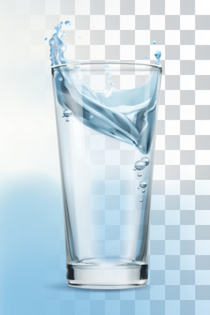 water droplets: Glass of water, vector illustration