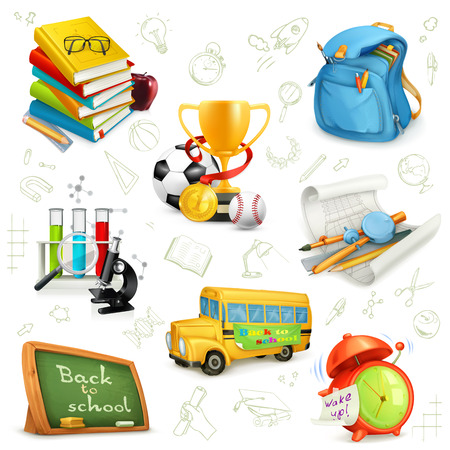 Back to school, education and knowledge, set icons, vector illustrations isolated on the white background with sketches Illustration