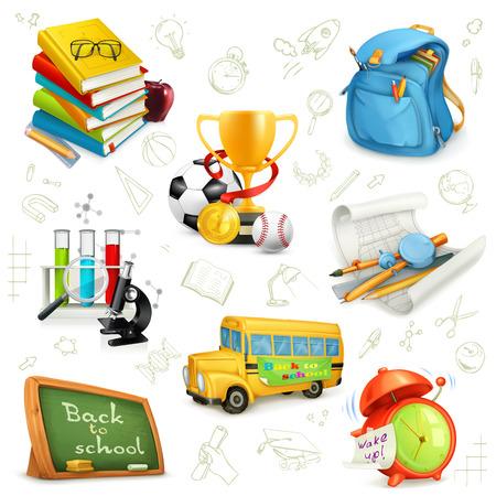 estudiando: Volver a la escuela, la educaci�n y el conocimiento, iconos establecidos, ilustraciones vectoriales aislados sobre el fondo blanco con dibujos