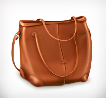 handbag: Leather handbag, vector icon