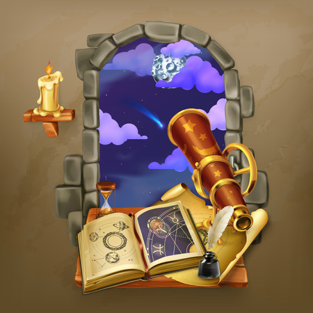 Window in the castle, magic and astrology vector illustration Çizim