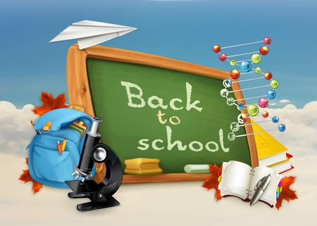 conocimiento: Volver a la escuela, estudiar y enseñanza, la educación y el conocimiento, ilustración vectorial sobre fondo blanco y azul Vectores