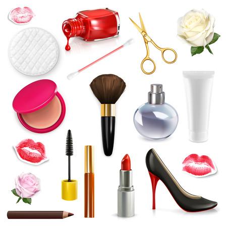 beso labios: cosméticos para mujer y accesorios, brote color de rosa, zapatos de tacón alto, ilustración vectorial conjunto aislado en el fondo blanco