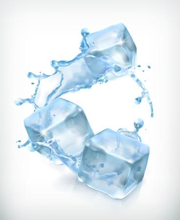 cubetti di ghiaccio: Cubetti di ghiaccio e una spruzzata di acqua, illustrazione vettoriale cocktail Vettoriali