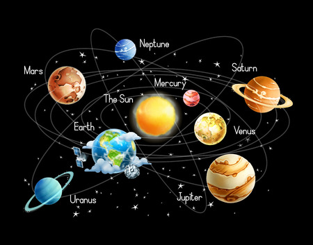 sonne mond und sterne: Sonnensystem, isoliert auf schwarzem Hintergrund Vektor-