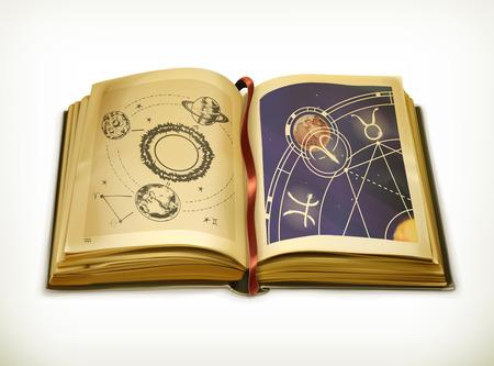 constelaciones: Antiguo libro, icono de la astrolog�a del vector