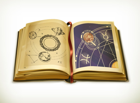 ancient books: Old book, astrology vector icon