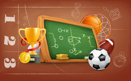 school strategy: School, game and strategy, vector background