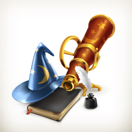 mage: Magician hat and telescope, vector illustration