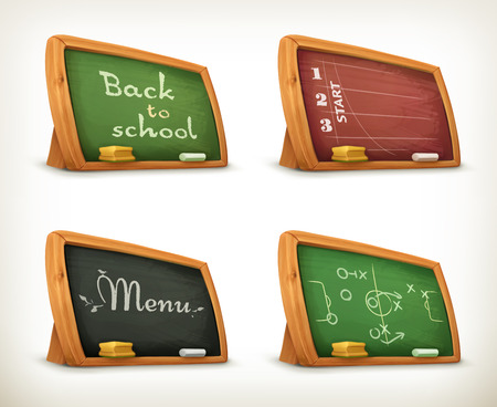 white board: Chalkboards, school sport menu vector set Illustration