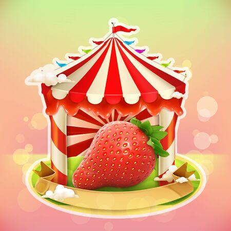 agricultural: Fruit jam poster strawberry, sweets emblem, specialized agricultural fair, vector illustration background for making design of sweets, jam jar, a juice pack etc Illustration