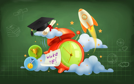 wake up: Wake up to school, vector background