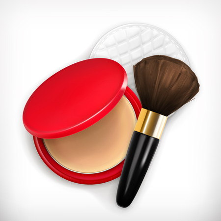 make up brush: Face powder and brush for make up, vector icon Vectores
