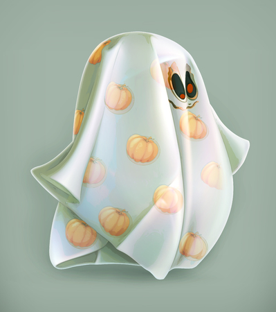 ghost cartoon: Cheerful ghost, vector icon Illustration