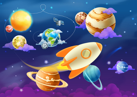 sol caricatura: Sistema Solar de los planetas, ilustraci�n vectorial