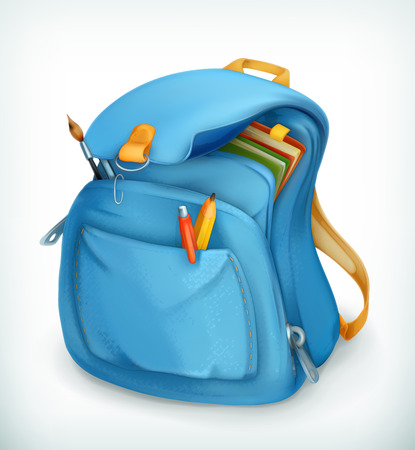 school books: Blue school bag, vector icon