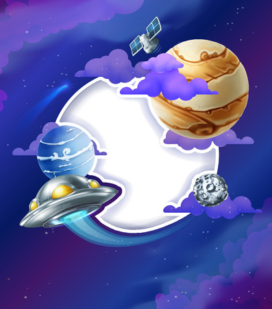 cosmo: Space background with white frame vector illustration