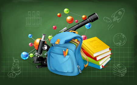 lessons: Welcome back to school. Studying and teaching, research and knowledge, vector illustrations on the chalkboard with sketches