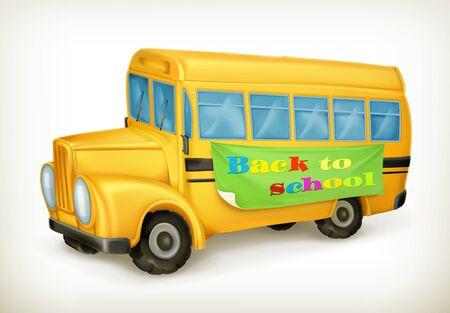 safety slogan: Yellow school bus, back to school vector icon