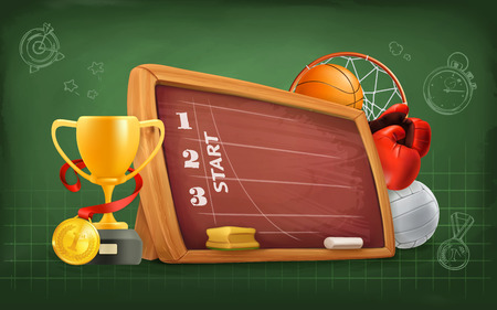 an achievement: School, sports and achievement, vector background