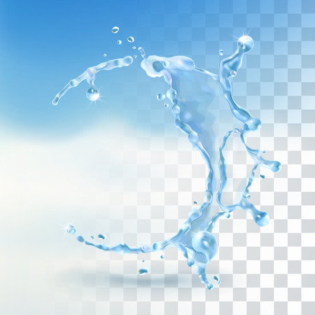 is wet: Water splash, vector element with transparency Illustration