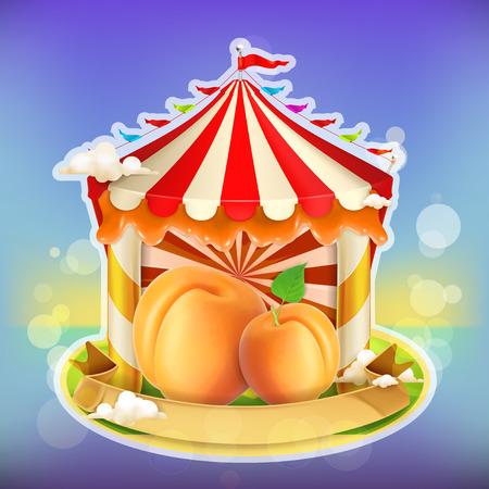 agricultural: Fruit jam poster apricot, sweets emblem, specialized agricultural fair, vector illustration background for making design of sweets, jam jar, a juice pack etc Illustration