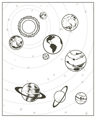 Black drawing, solar system vector