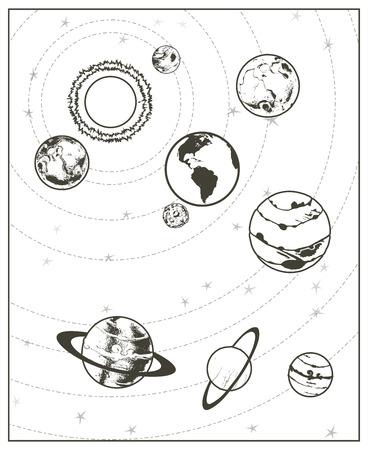 Black drawing, solar system vector
