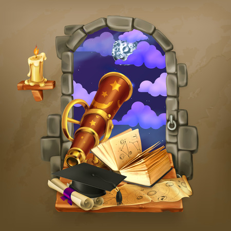 astrology: Window in the castle, magic and astrology vector illustration Illustration