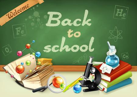 school life: Bienvenido de nuevo al colegio. El estudio y la enseñanza, la investigación y el conocimiento, ilustraciones de vectores en la pizarra verde