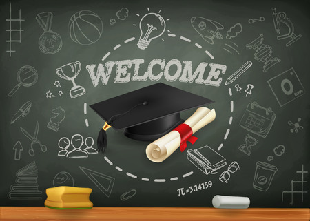 bachelor: School and learning, infographics vector background