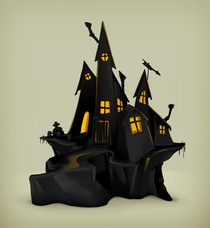 ハロウィン魔女の城ベクター シルエット