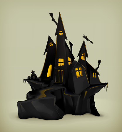 cemeteries: Halloween, witch castle vector silhouette Illustration