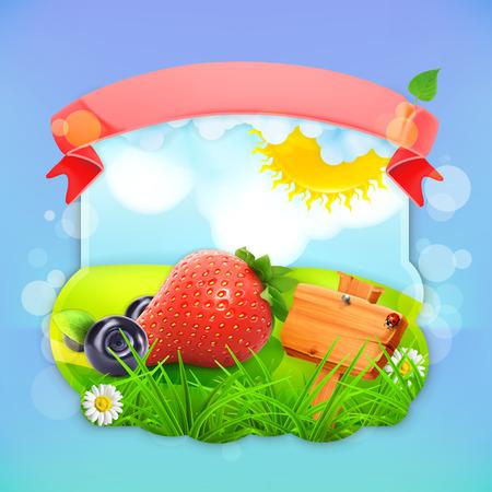 label design: Juicy berries, vector label design