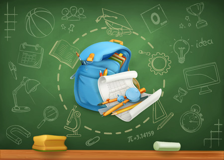 blackboard cartoon: School, infographics vector background