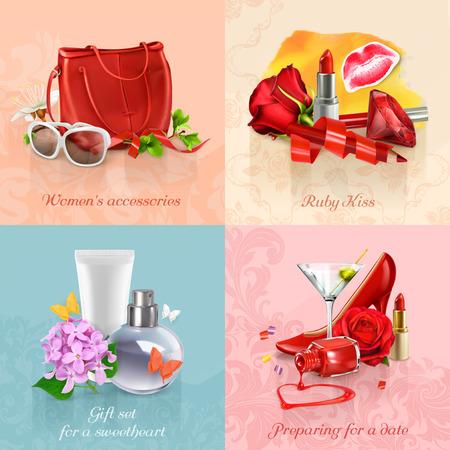 femme romantique: Beauté et cosmétiques ensemble de milieux concepts vectorielles