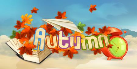background herfst: Herfst achtergrond, vector illustration