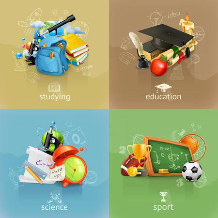 school books: School concepts, vector set