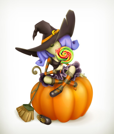 witch on broom: Witch on pumpkin, vector illustration Illustration