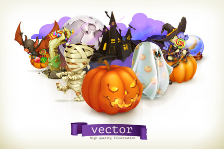 3d halloween: Happy Halloween, vector illustration