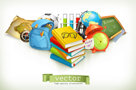 school backpack: School, vector illustration isolated on white
